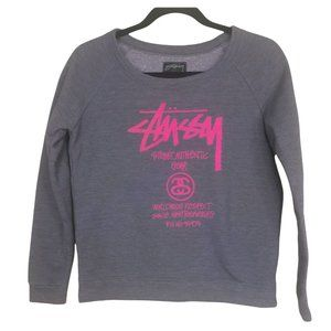 Vintage 90's Stussy grey and Pink sweater S